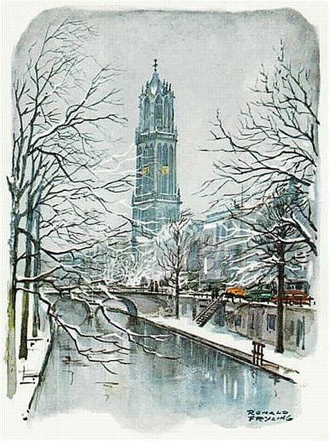 Aquarel van Ronald Frijling. Utrecht