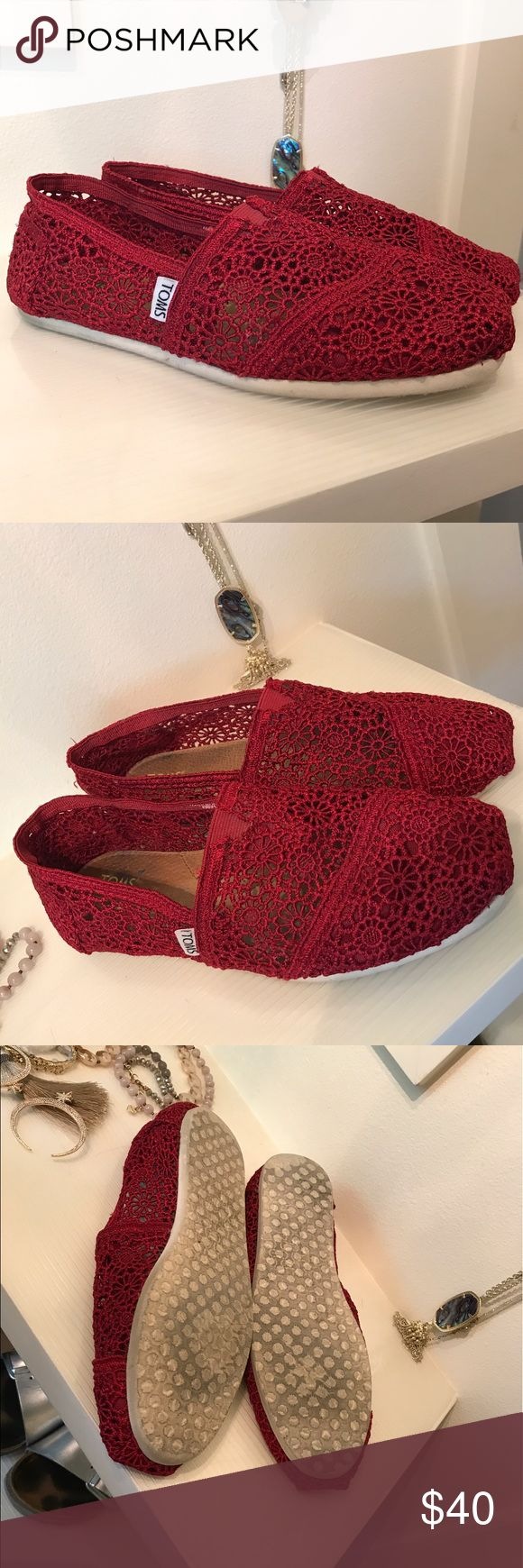 Lightly worn women's red crochet TOMS, size 9. Size 9 women's red crochet classic TOMS. Worn a few times. TOMS Shoes Flats & Loafers