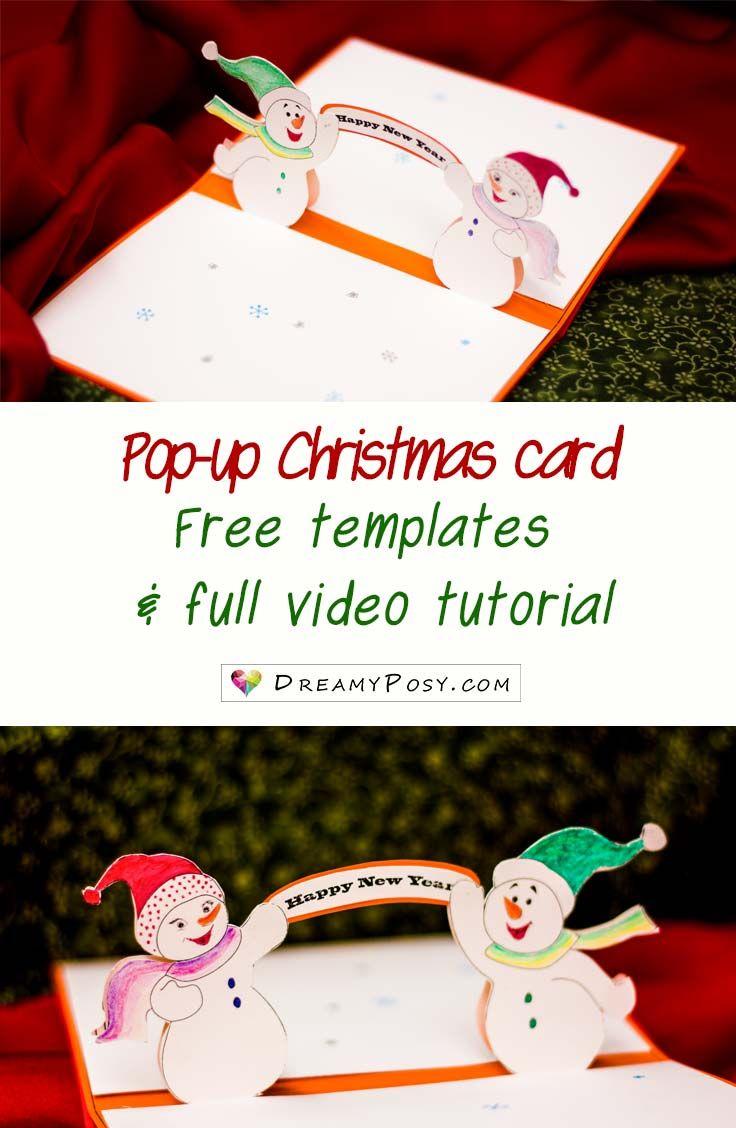 How to make pop-up Christmas card, free template | Christmas Card ...