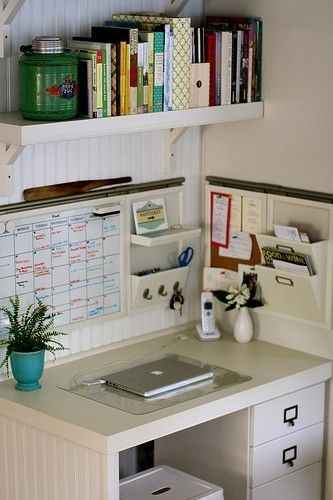 Idea for your small office area.  Shelving above with storage on the walls and in desk drawers.