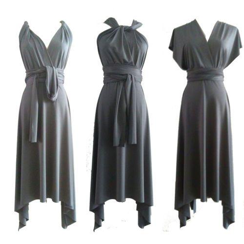 Gray-Flirty-Multi-Way-Wrap-Convertible-Infinity-Swing-Bridesmaid-Dress-XS-3XL