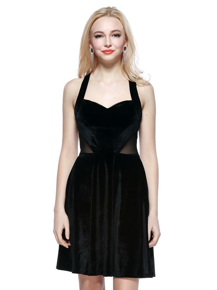 Black Velvet Sleeveless Dress With Mesh Plane | Choies