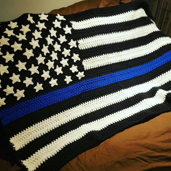 American Flag Blanket  Check out this item in my Etsy shop https://www.etsy.com/listing/487495700/thin-line-flag-blanket-thin-blue-line