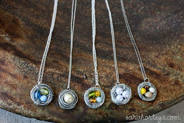 Nest necklace: Crafts Ideas, Mothers Day, Necklaces Tutorials, Diy Necklaces, Gifts Ideas, Diy Birds, Bird Nests, Birds Nests Necklaces, Birdnest