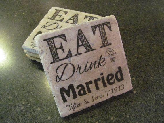 Personalized Coasters Wedding Gift: Personalized Coasters, Textured Stone Tile, Wedding Gift
