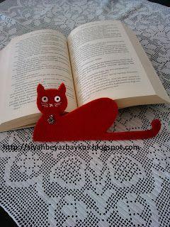 siyah beyaz baykuş..: Keçeden Kedili Kitap Ayracı
