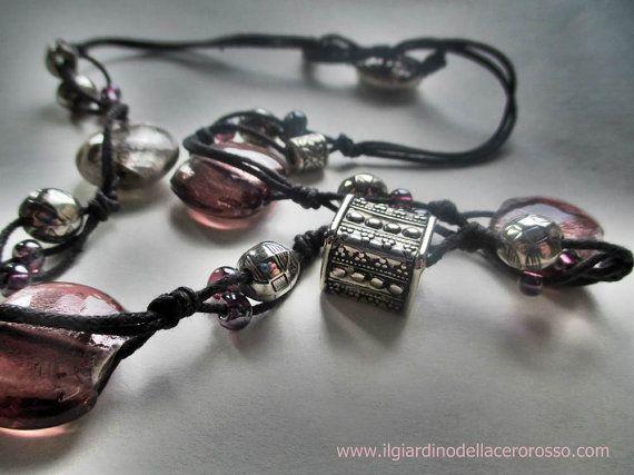 Collana in corda handmade, perle di vetro e argento indiano, bijoux