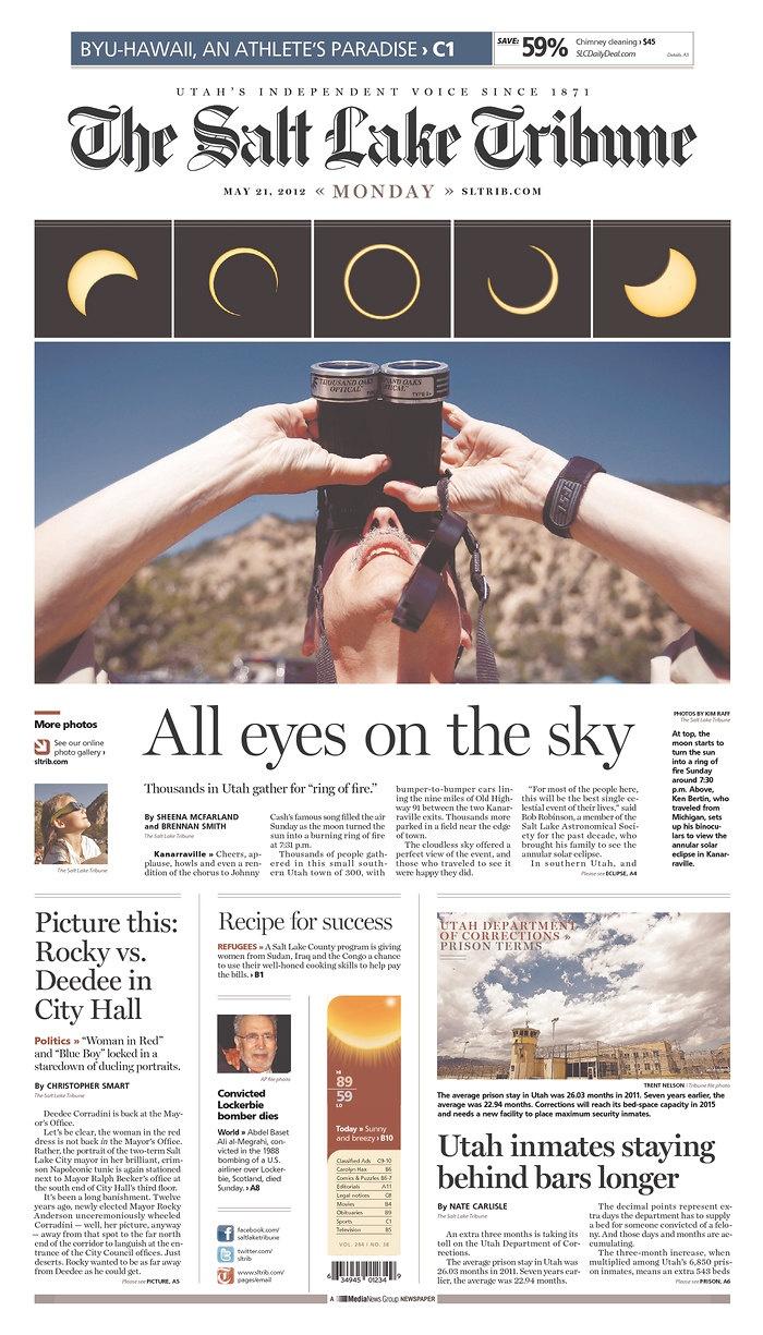 The Salt Lake Tribune, May 21, 2012:  Internet Site, Newspaper Design,  Website, Salts Lakes Cities, Web Site, News Design, Eclip Layout, Lakes Tribune, Design Desire