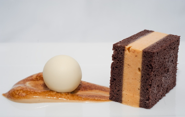 Pumpkin Ice Cream and Chocolate Stout Cake Sandwich with Cranberry & White Chocolate Truffle.  Photo Credit: Justin Kern
