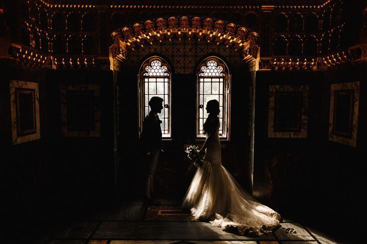 Bride and groom silhouette creative portrait at a Wales wedding at Cardiff Castle. Image by ARJ Photography