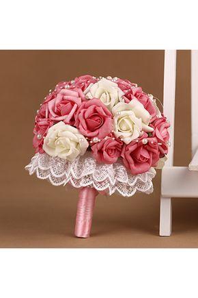 Bouquets de Noiva Lindo Rose Mão-amarrado Bouquets de casamento
