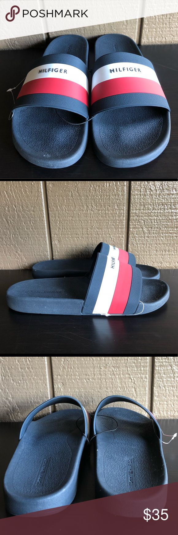 Tommy Hilfiger Men's Sandals EARTHY Blue/Red Tommy Hilfiger Men's Sandals Slides EARTHY Block Logo Spell Out Blue Red   Brand : Tommy Hilfiger   Style Code : EARTHY-R   Color : Dark Blue/Red/White   HILFIGER across each strap   Slip-on construction.   Open-toe.   Synthetic lining.   Lightly padded footbed.   Man-made outsole.   BRAND NEW Tommy Hilfiger Shoes Sandals & Flip-Flops