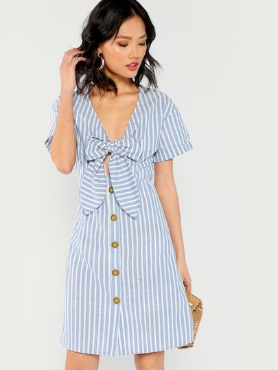 572e67bb0787 Knot Front Button Up Striped Dress in 2019 | New In Dresses ...