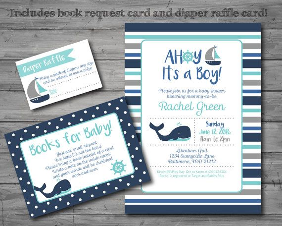 Nautical Baby Shower Invitation nautical by HappyGoLucyDesigns