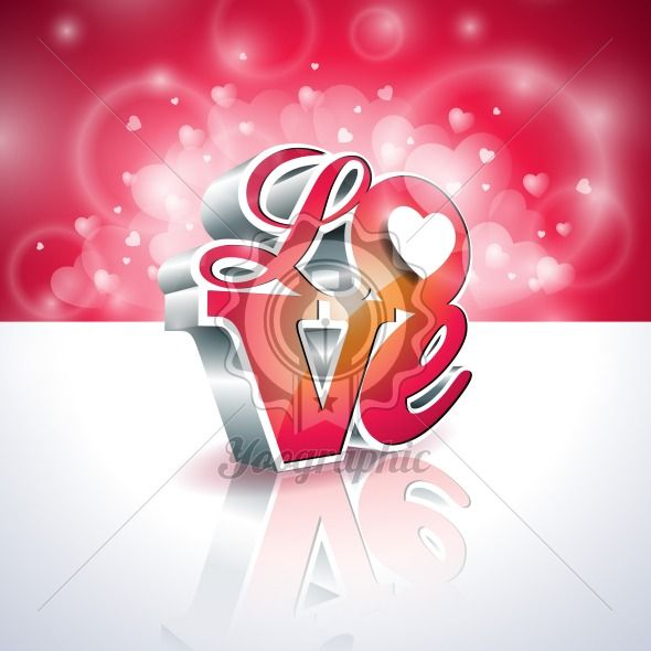 Vector Valentines Day illustration with 3d Love typography design on shiny background. - Royalty Free Vector Illustration