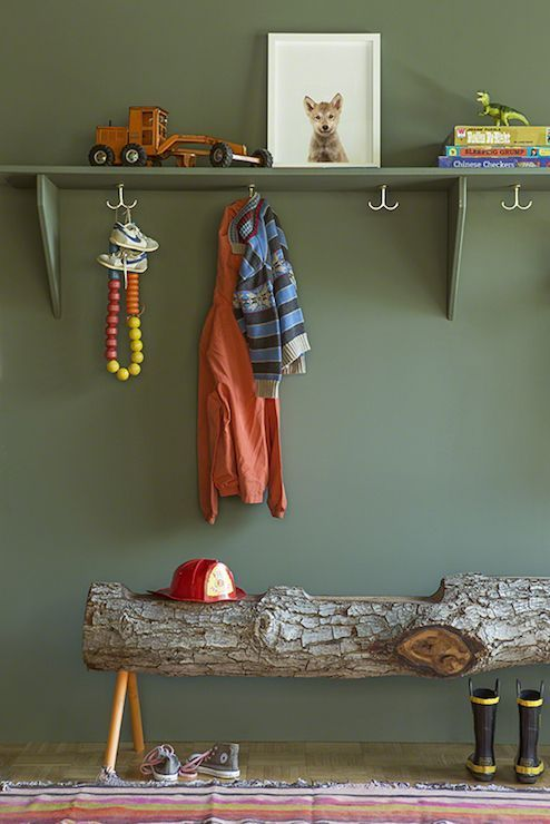 Benjamin Moore Caldwell Green lined with shelf painted the same color as walls…