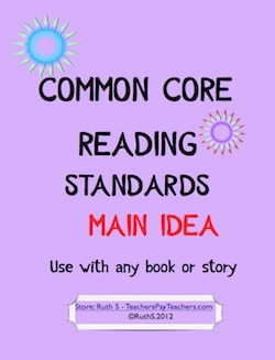 """Common Core Reading Standards """"Main Idea"""" that can be used with any book! This packet is for Common Core (Reading Assessment) Standard 1 - Main idea/ details. Grades 4 and 5 however, other grades can use them. priced item"""