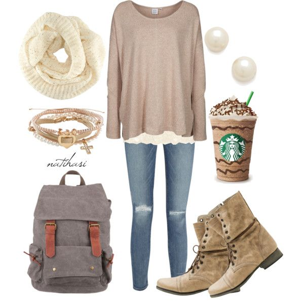 """""""Cute and Comfy Fall School Outfit"""" by natihasi on Polyvore"""