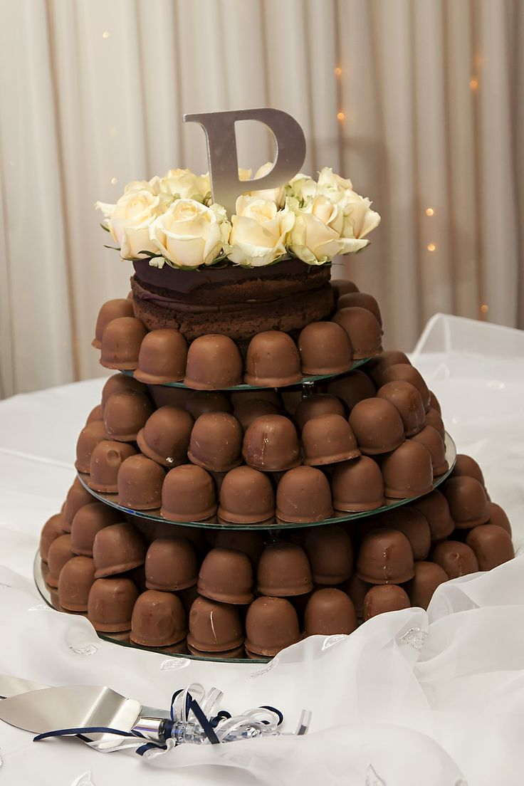 Chocolate Mousse Chocolate Cake Top Tier with Cadbury's Sweetie Pies - Cake Decorated with White Roses & Monogram
