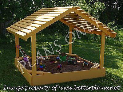 Planos para construir uma cobertura de 6' X 6' Caixa De Areia Área de segurança. equipamento de playground.