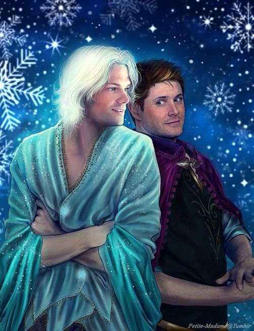 Supernatural/Frozen crossover. I'm not sure how I feel about this    I don't know if i will ever get the picture of Jared with that white hair out of my head...