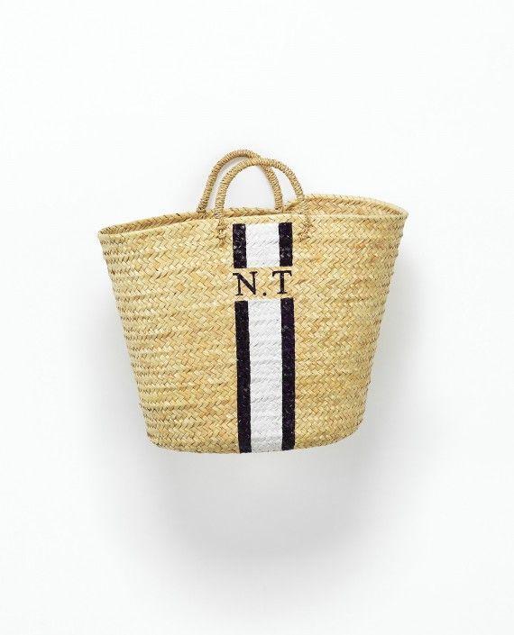 raefeather monogram beach basket