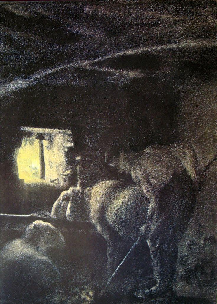 At the stable. Giovanni Segantini - 1883-1886