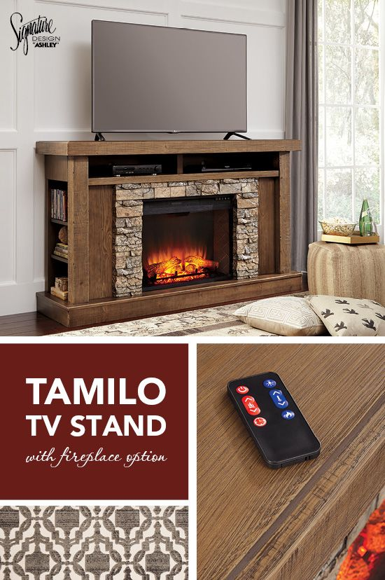 #AshleyFurniture #TVstands -  Tamilo fireplace surround brings newfound flair to countrified chic style. Crisp, clean-lined profile, paired with an understated finish over rough-hewn surface, is the essence of natural beauty. The faux stone surround is finished in such a striking way that only you'll know it isn't the real thing.  Ashley Furniture - TV Stands - Fireplace - Living Room Entertainment Center