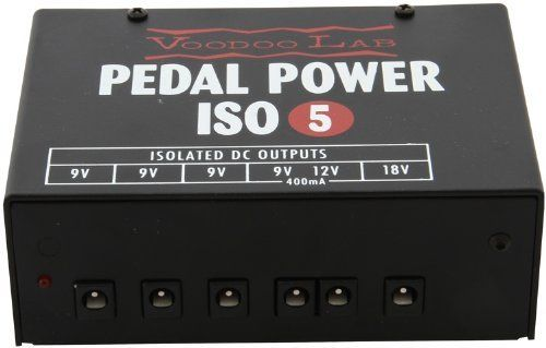 Voodoo Lab Pedal Power ISO-5 Power Supply by Voodoo Lab. $109.99. The Voodoo Lab Pedal Power ISO-5 is an isolated power supply for powering guitar pedal effects and accessories. It's the ultimate compact solution for smaller pedal boards, rack shelves, or even as an additional power supply for larger boards. With five isolated, filtered and regulated output sections, ISO-5 keeps even the most sensitive vintage and boutique analog pedals dead quiet. Pedal Power ISO-5 include...