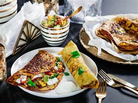 Indiska majspannkakor med grönsakssalsa och sval yoghurt