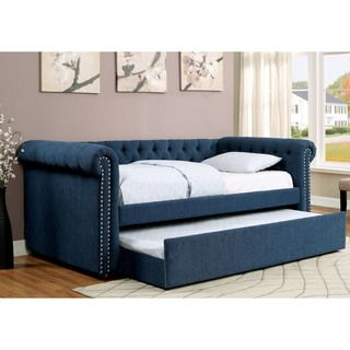 TRIBECCA HOME Knightsbridge Tufted Scroll Arm Chesterfield Daybed with Trundle - 17337288 - Overstock Shopping - Great Deals on Tribecca Home Beds