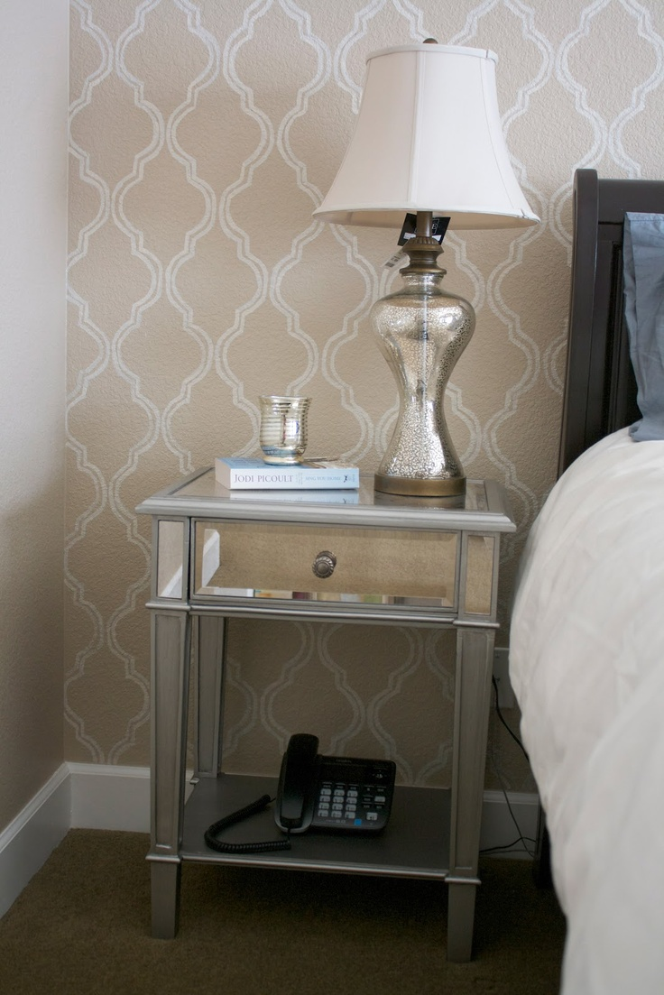 love the mirrored nightstand: