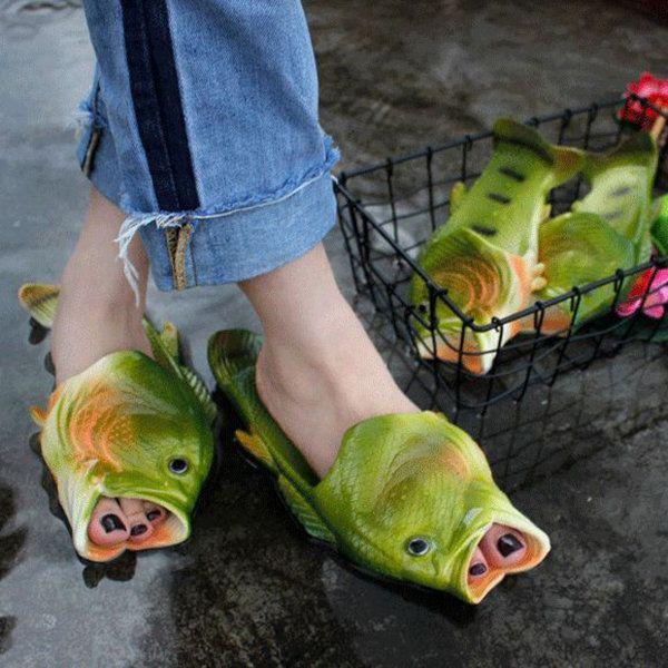 Women <b>Men</b> Fish <b>Slippers</b> Summer <b>Beach</b> Flat <b>Flip</b> Flop Shoes ...
