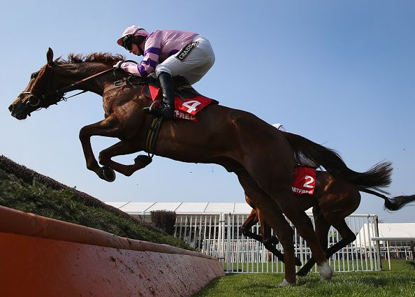 Silviniaco Conti ridden by Noel Fehily clears a fence on their way to victory in the Betfred Bowl Steeple Chase at Aintree Racecourse on April 9, 2015 in Liverpool, England.