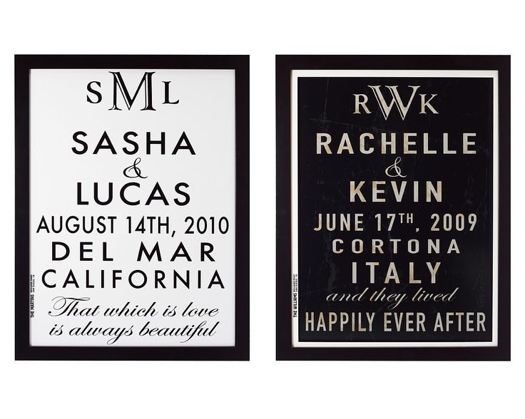 """These nostalgic, nuptial signs hearken back to a time when formal wedding announcements were an anticipated and celebrated part of life. Surprise the happy couple with a made-for-life printing inspired by vintage """"roll stop"""" subway and trolley signs from the 1920s and '30s."""