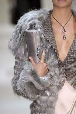 Grey clutch & fur coat