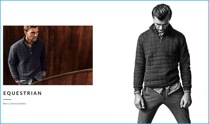 Patrick Kafka fronts the lookbook for Massimo Dutti's fall-winter 2016 men's equestrian collection.