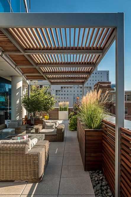 Plantings Soften Metal And Wood In 2019 Rooftop Terrace