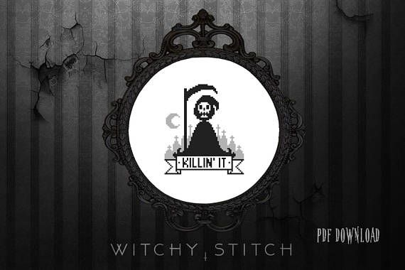 Killin It Grim Reaper Cross Stitch Pattern Modern Funny