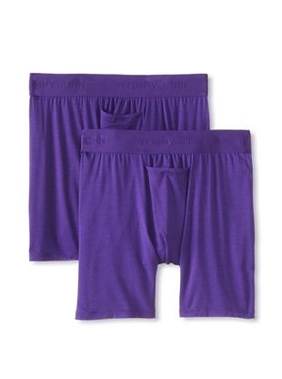 55% OFF Tommy John Men's Second Skin Fitted Boxers - 2 Pack (Purple)