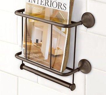 Mercer Magazine Rack & Paper Holder, Antique Bronze finish - traditional - magazine racks - Pottery Barn
