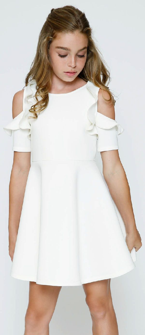 1a62093fa Hannah Banana White Cold Shoulder Frilly Scuba Dress  Restocked ...