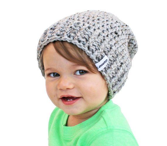 Gris bebé Beanie Crochet Slouch bebé gorro cualquier tamaño 0-8 YearsFitted o Slouchy estilo