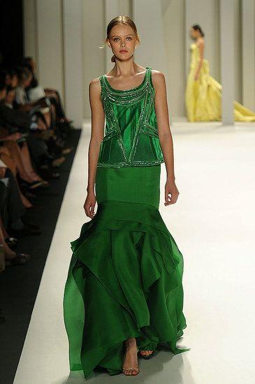 More green.Carolina Herrera Spring 2012