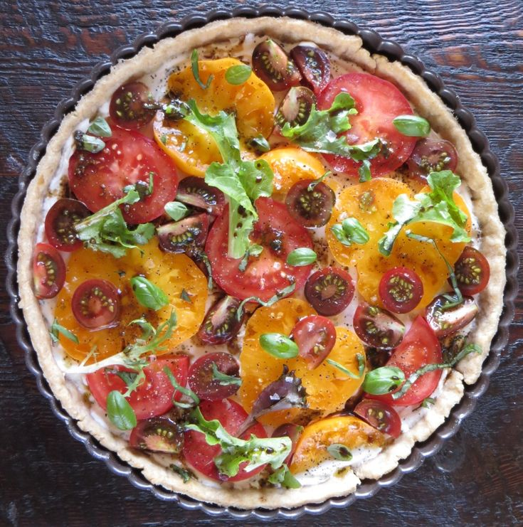 Herbed Goat Cheese & Tomato Tart ~ might add some fresh basil on top ...