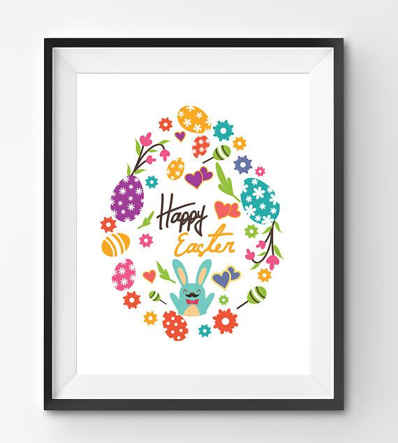 Happy Easter Typography Print with Colorful Eggs Flowers and