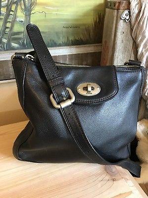 FOSSIL Turn Lock Black Pebbled Leather Crossbody Shoulder Handbag Mint    eBay
