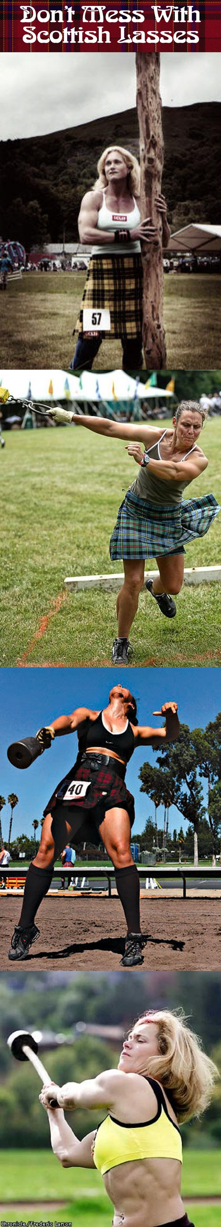 Highland Games, being largely tests of physical strength have traditionally been an exclusively male endeavor. However, in recent years more and more female competitors have started getting in on the fun. And just let me add, these women are no joke.