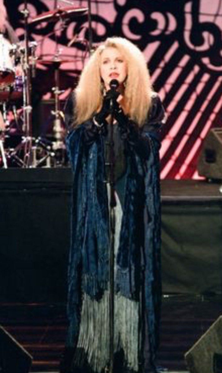 Stevie  ~ ☆♥❤♥☆ ~  with crimped hair; photo taken while she and her crew were performing 'Blue Denim', a song from her 1994 'Street Angel' album  ~  https://youtu.be/Xb0IL7oXIXM   ~  http://www.fleetwoodmac.net/penguin/interpretations/b/bluedenim.htm