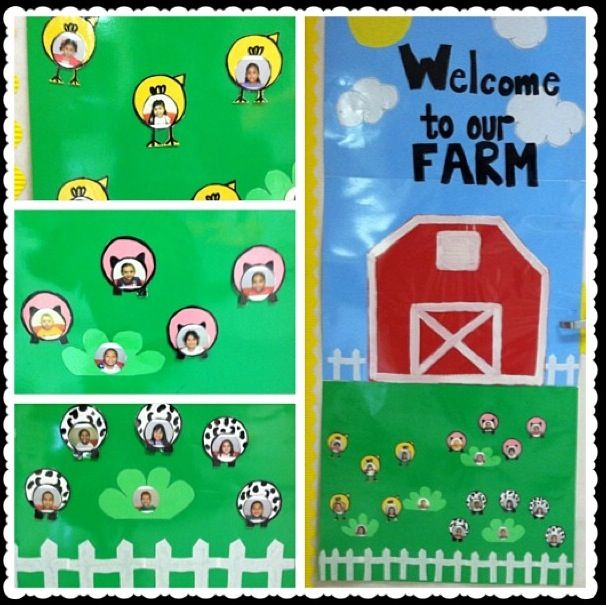 Classroom door farm animals classroom theme for Farm door ideas